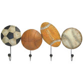 Sport Balls Metal Wall Decor With Hooks